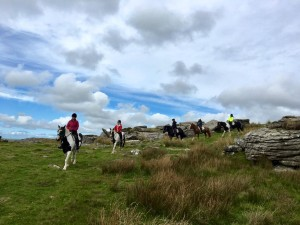 5 riders on moor